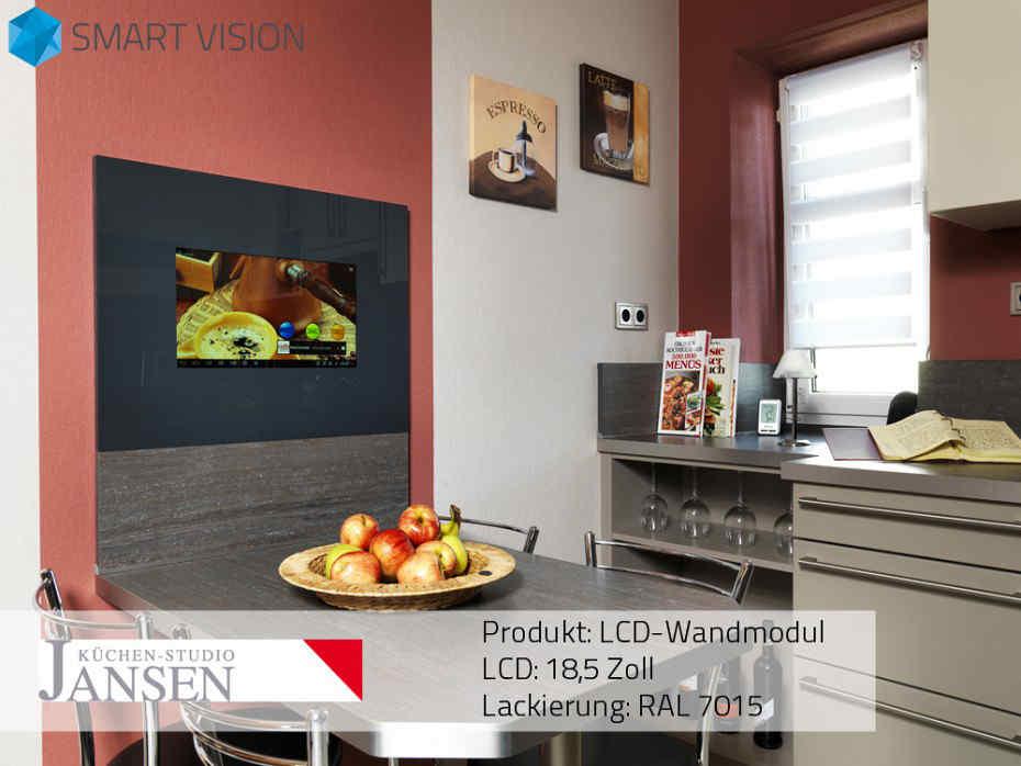 Fernseher in der Küche realisiert mit LCD-Wandmodul aus Glas mit 18,5 ″ LC-Display, Android und TV-Receiver