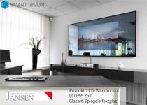 LCD integriert in Wandmodul mit 55″ LCD-Bildschirm Full HC, Spiegeleffektglas, Internet und Fernsehen