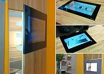 SMART VISION LCDs integriert im Fußboden, Kühlschrank, Schiebetür und im Tisch auf der IMM in Köln