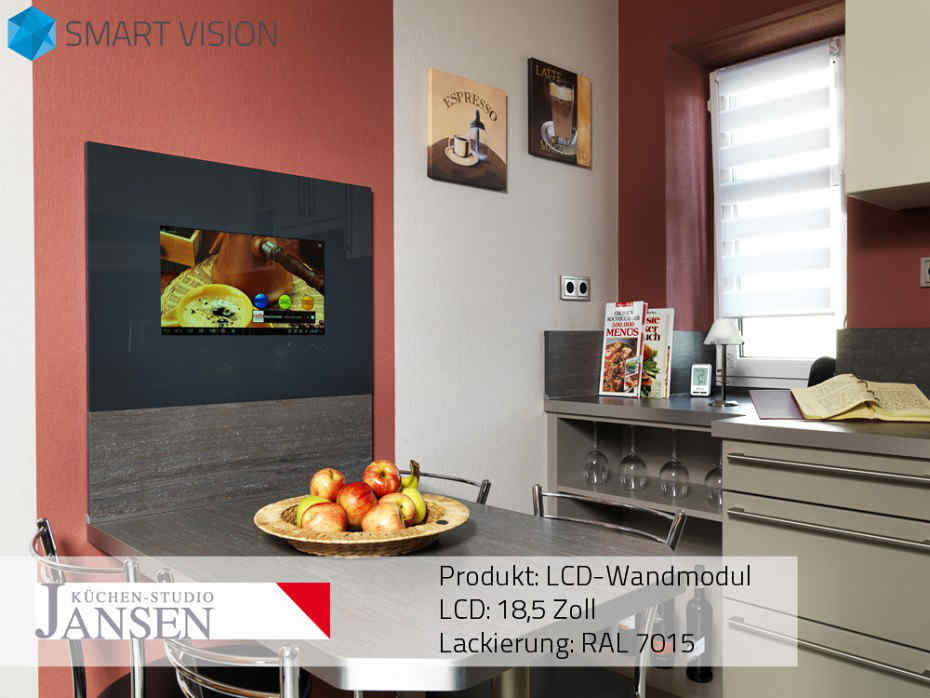 fernseher in der k che mit smart vision home. Black Bedroom Furniture Sets. Home Design Ideas